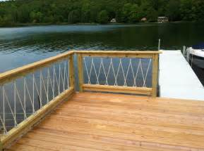 awesome cantilevered deck and nautical railing place on