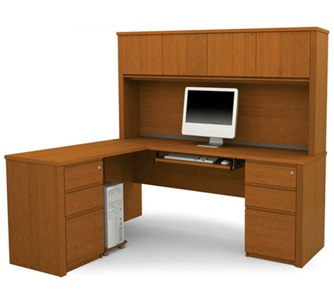 bestar prestige l shape desk with hutch in cognac cherry