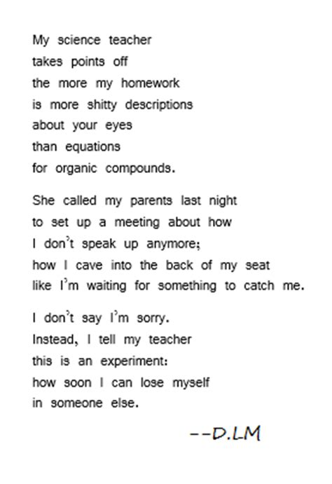 chemistry poems heartache poem