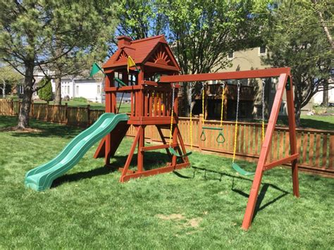 swing sets kansas city deck and swing set staining