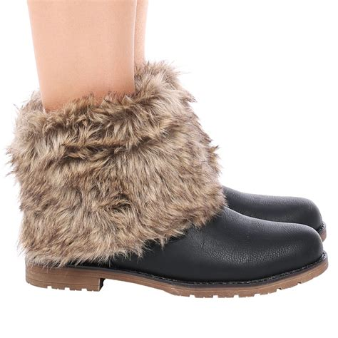 d9z womens fur collar warm winter flat pull on