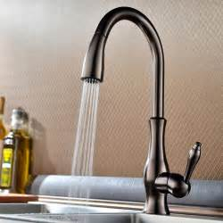 tracier gooseneck single hole kitchen faucet with pull out
