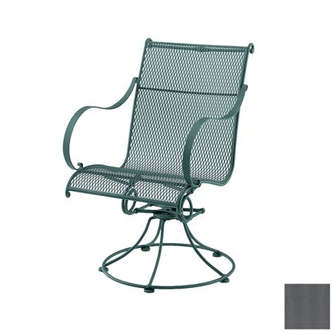 Patio Swivel Rocker Chairs Shop Cascadia Verona Wrought Iron Swivel Rocker Patio Dining Chair At Lowes