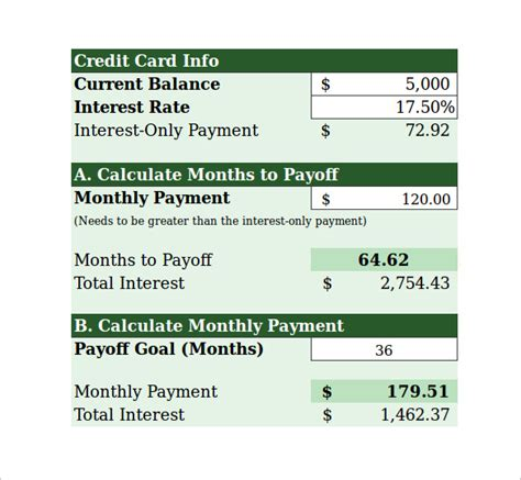 Credit Card Amortization Formula Excel Sle Credit Card Payment Calculator 9 Documents In Excel