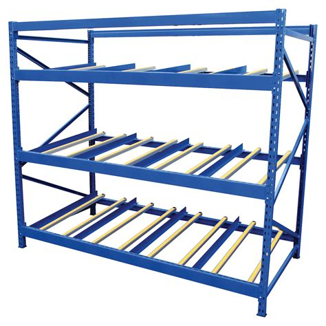 vestil flow rack 4 flow levels 96in w 48in d
