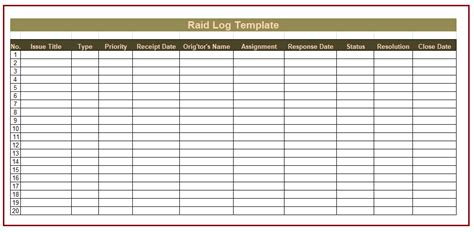 raid log template free log templates