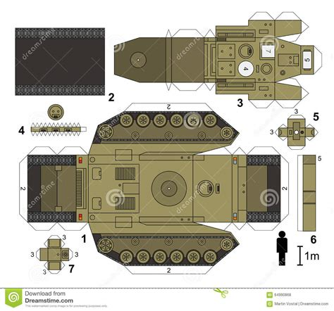 How To Make A Tank Out Of Paper - paper model of a tank stock vector illustration of turret