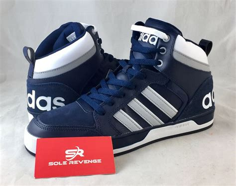 mens adidas neo raleigh tis mid shoes navy blue gray