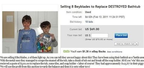 beyblade bathtub selling toys on ebay as punishment good parenting