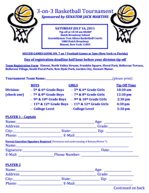 Basketball Waiver Form Template Fill Online Printable Fillable Blank Pdffiller Basketball Tournament Registration Form Template