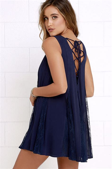 navy blue swing dress cute navy blue dress lace up dress swing dress 39 00