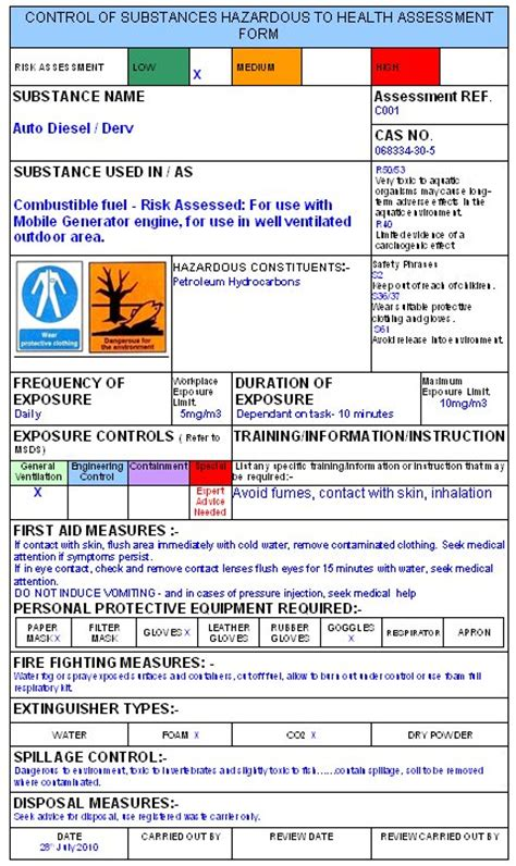Coshh Assessment Template Safety Data Sheet Template 2017