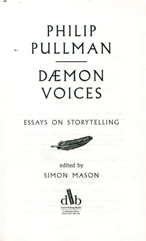 daemon voices essays on 1910200964 d 181 mon voices essays on storytelling by pullman philip 9781910200964 brownsbfs