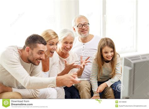 happy family tv at home stock image image 46149699