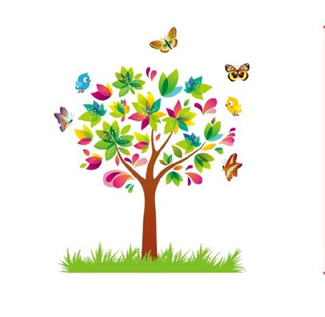 wallpaper cartoon tree rainbow cartoon tree wall sticker for kids