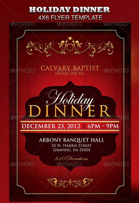 Holiday Dinner Church Flyer 187 Herogfx Graphic Design 4x6 Flyer Template