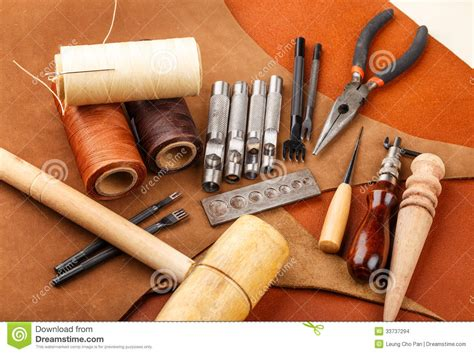 Handmade Leather Tools - handmade leather craft tool stock photo image of wooden