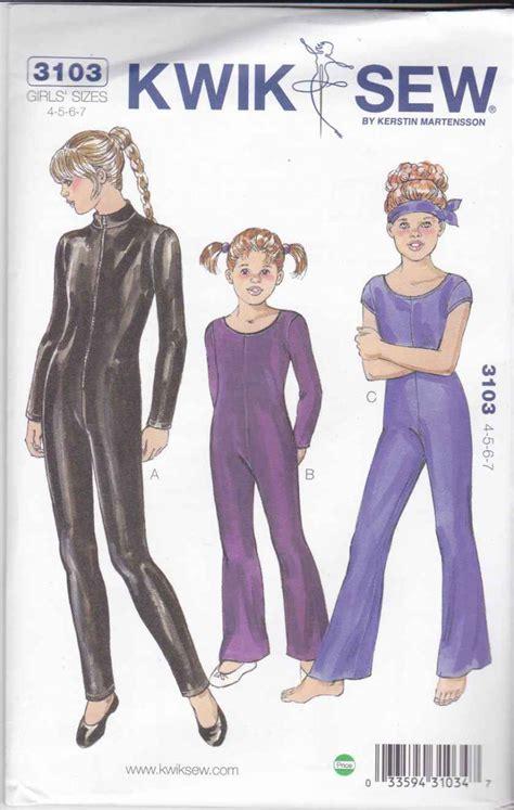 sewing pattern unitard kwik sew sewing pattern 3103 k3103 girls size 4 7 unitard