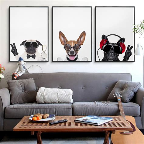 dog themed home decor art print funny animal dog home decoration painting kids