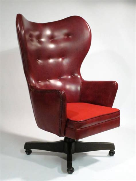 leather wingback rolling chair by schafer bros at 1stdibs