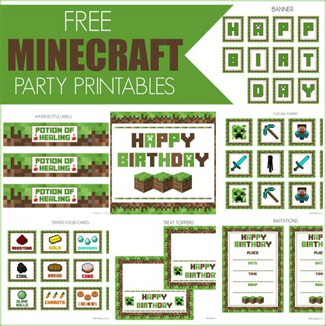 printable birthday supplies free minecraft printables catch my party