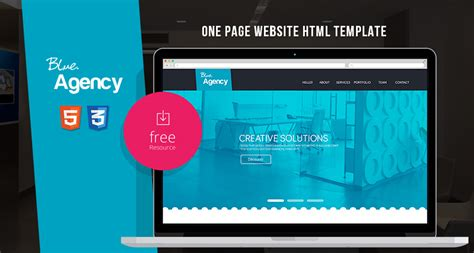 Blue Agency One Page Website Html Template Free Html5 Templates Free One Page Html Template