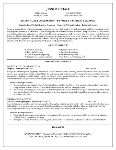project coordinator resume exles education coordinator resume best resume collection