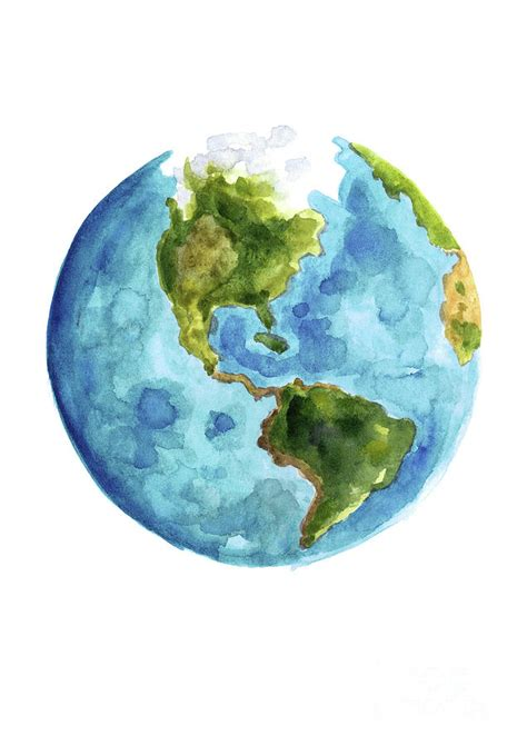 The World In Watercolor by Planet Earth South America Illustration Watercolor World