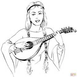 woman in braids playing a lute coloring page free