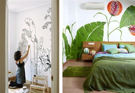 agréable Fresque Murale Papier Peint #1: diy-peindre-mur-jungle-plantes-foret-feuilles.png