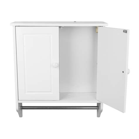 Bathroom Storage Cabinet For Towels Brand New Wall Mounted White Wood Cabinet Door Shelf Towel Rail Bathroom Storage Ebay
