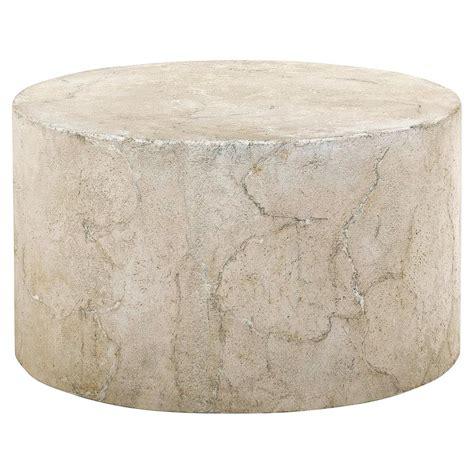 Osmond Industrial Round Limestone Concrete Coffee Table Limestone Coffee Table