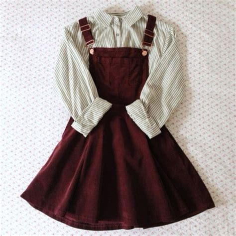 Overall Stripe Blouse dress dungarees burgundy blouse shirt stripes skirt jumper overall skirt white