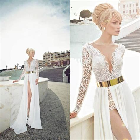 V Neck Dress Wbelt 5649 White Black custom made v neck see through sheer lace white high side slit gold belt white 2014