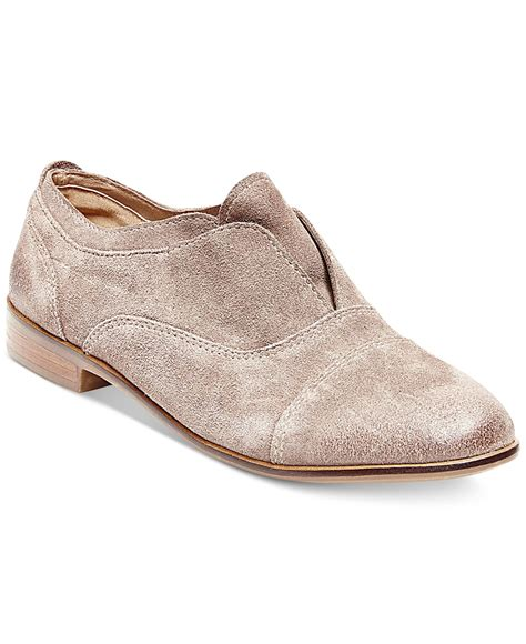 suede oxford shoes womens steve madden s catt slip on oxfords in gray lyst