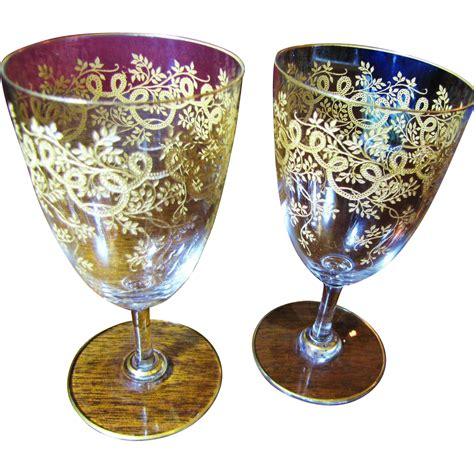 beautiful wine glasses beautiful pair of heavily decorated gilt wine glasses from