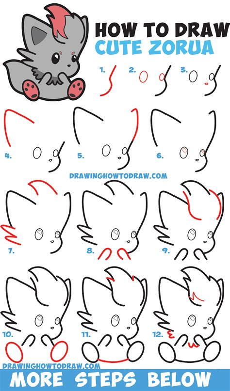 Easy Kids Drawing Lessons How To Draw A Cartoon House | how to draw cute zorua pokemon with easy step by step