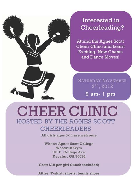 Agnes Scott Cheer Clinic The Irvine At Agnes Scott College Cheerleading Flyer Template