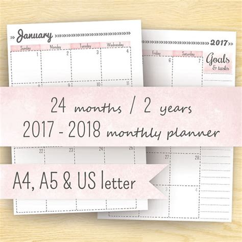 2018 planner monthly and weekly calendar an agenda organizer with calendars and inspirational motivational quotes jan 2018 jan 2019 books this 2017 2018 month on two pages printable calendar