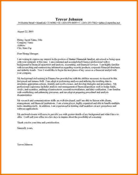 Test Analyst Cover Letter by 10 Financial Analyst Cover Letter Exles Financial Statement Form