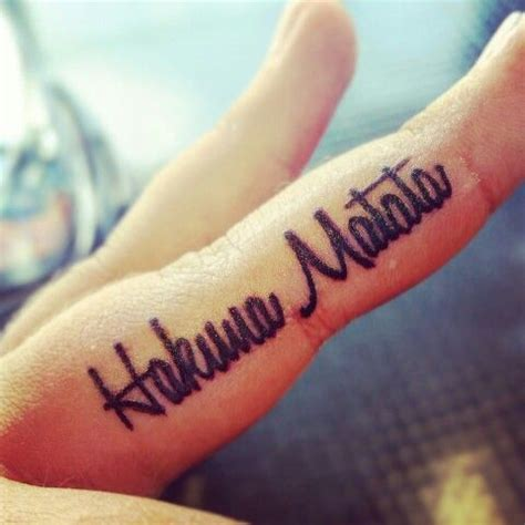 inner finger tattoos i am so in with my hakuna matata on my inner