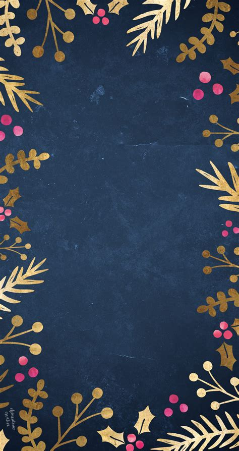 festive wallpaper gold foil foliage