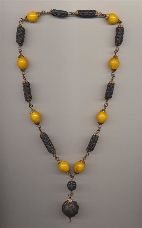 ethnic necklace of scented amberpaste and plastic
