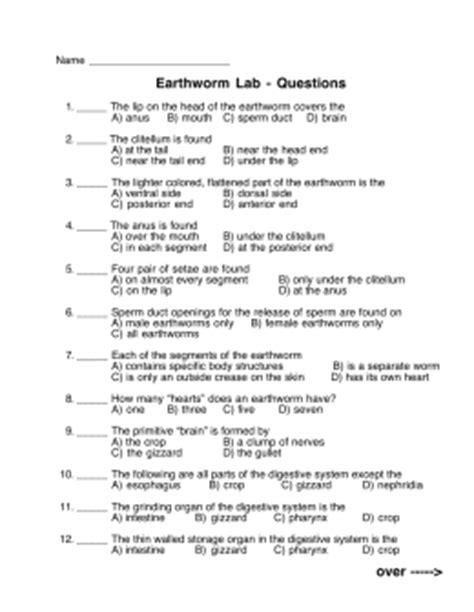 earthworm dissection analysis questions worm dissection