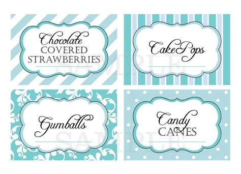 Printable Candy Buffet Labels For Wedding Or Shower Shades Of Blue Buffet Signs Templates