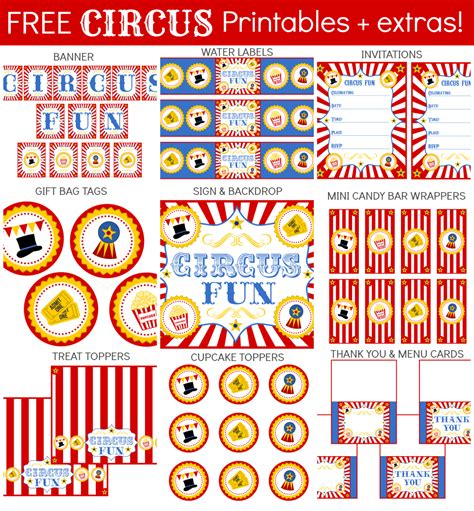 free printable circus party decorations free circus party printables set free party printables