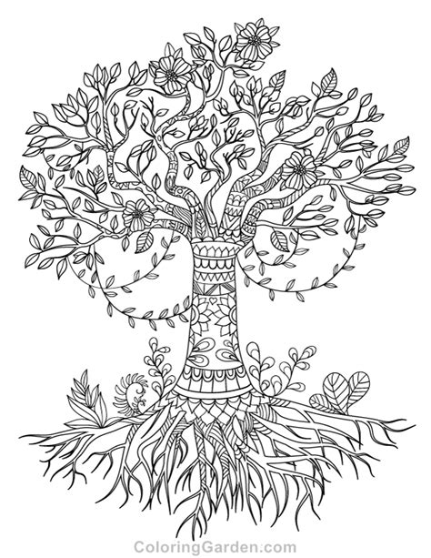 coloring pages of the tree of life tree of life adult coloring page