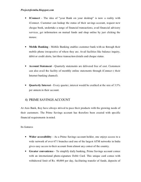 Axis Bank Letter Of Credit A Market Research Project On Comparative Study Of Savings Ac Of Axis