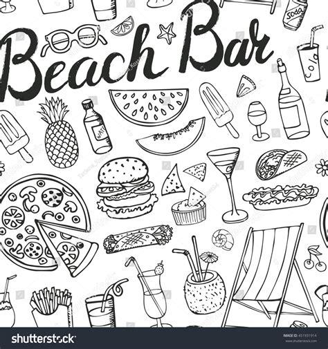 doodle bar food menu summerbeach bar menuhand doodle vector stock vector