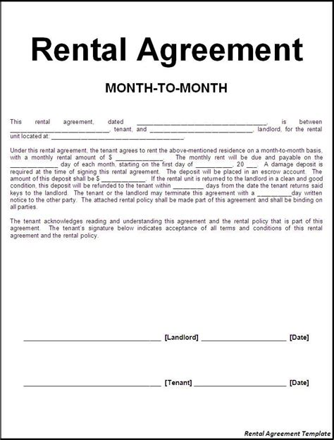 rental agreement lease template printable sle rental lease agreement templates free